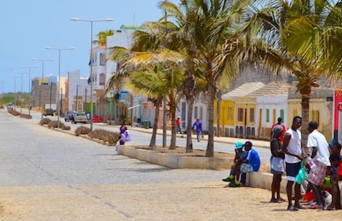 Main street in Vila do Maio, Maio, Cape Verde