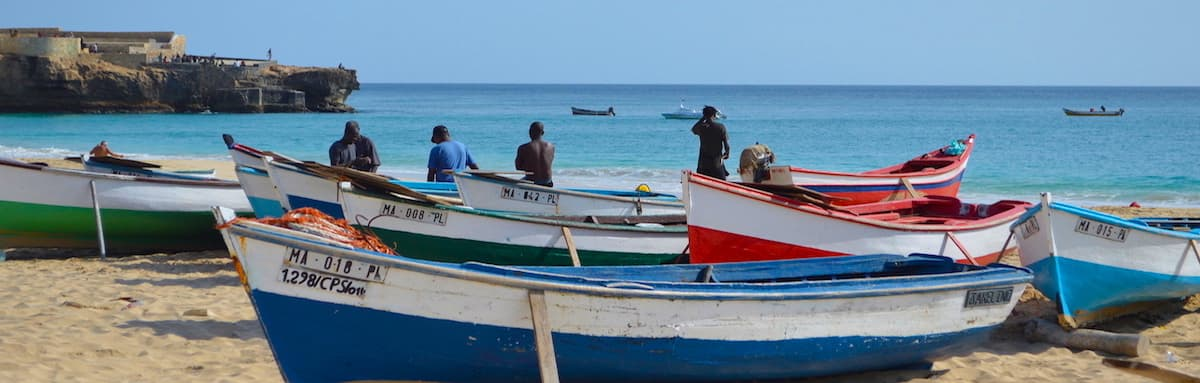 Fishing boats on Bitxe Rotxa beach, Maio