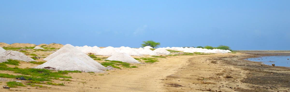 Piles of salt at the salinas on Maio Cape Verde