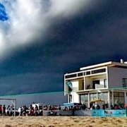 Maio rain cloud over beach