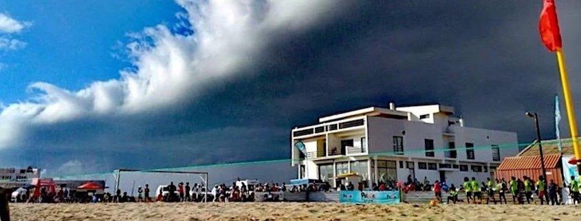 Maio rain cloud over beach