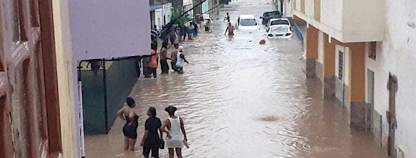 Praia street after the rain in Cape Verde